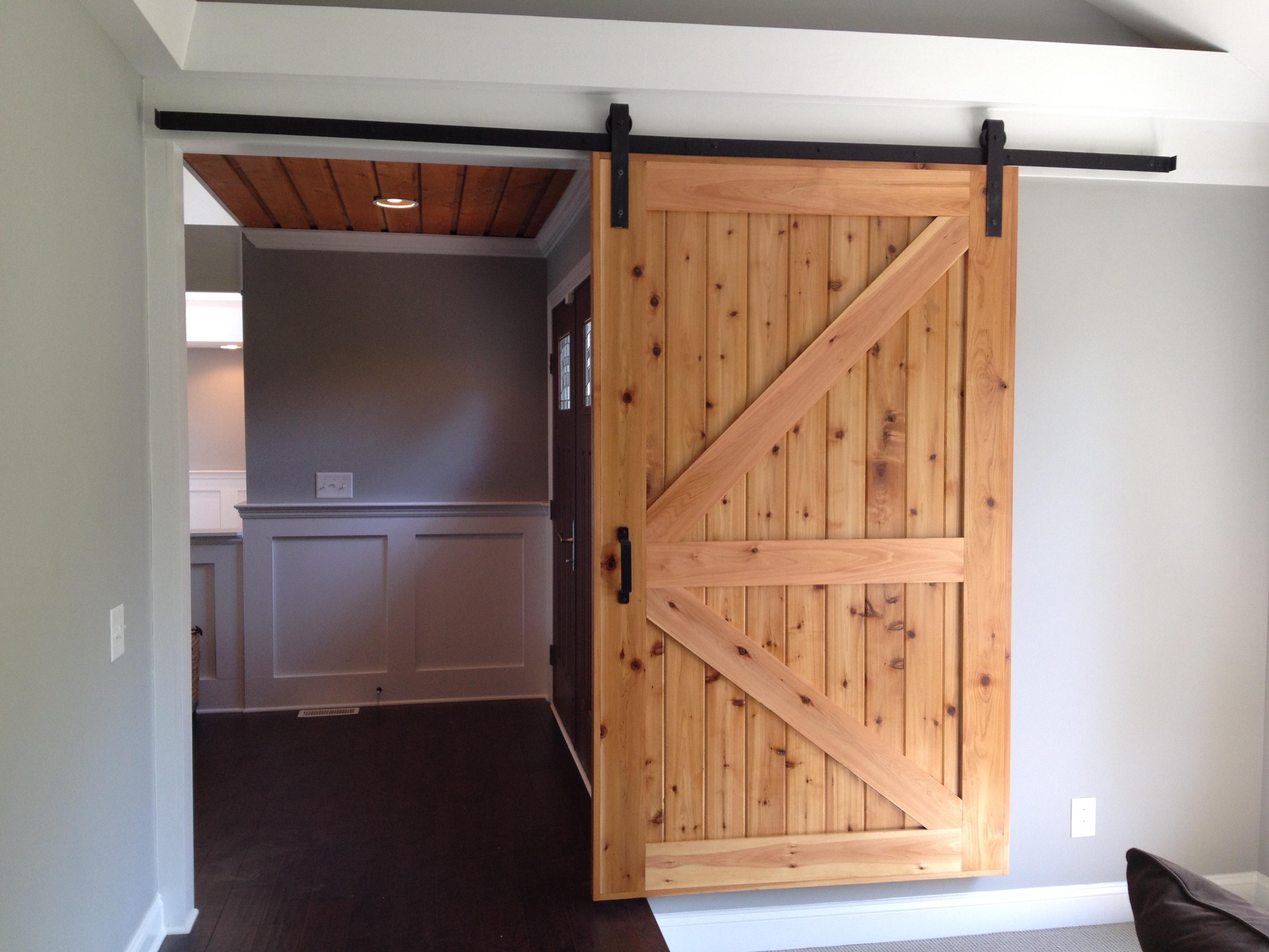 Custom Built Cedar Barn Door & Custom Door - Lake Norman NC - Henderson Building Group